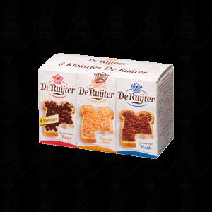 8 kleintjes De Ruijter melkchocolade vlokken, chocolade vlokken puur, fruithagel, melkchocolade hagelslag en chocolade hageslag puur