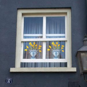 Delft Blue Tulip Yellow Window Decal - Flat Flower - 30 x 30 cm
